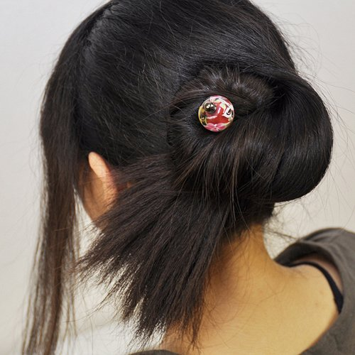 Kanzashi Japanese Hair Stick With A Tombodama Glass Beads