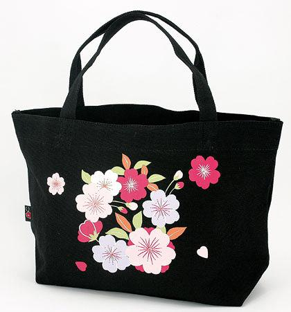 Cherry Blossom Pattern Canvas Boat-shaped Tote Bag ��