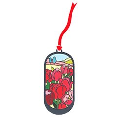 Tulips Fields Stained Glass Like Elliptic Bookmark
