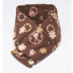 Rabbit & Snowflake Pattern Fleece Scarf With Loop