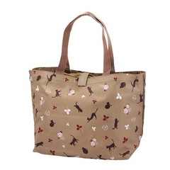 Shopping Eco Bag Cat and Rose beige