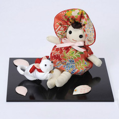 Antique Fabric Cat and Doll