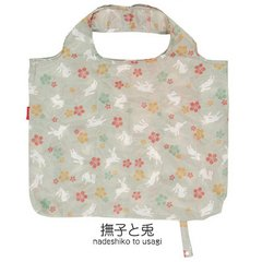 Dianthus (Nadeshiko) and Rabbit Pattern Folding Eco Bag