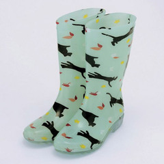 Rain Boots Cat and Butterfly (light green)