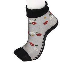 Camellia Pattern See-through Two-Toe Socks