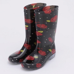 Rain Boots Camellia and Arare(black)