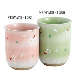 Mino Tea Ware White Flower pink