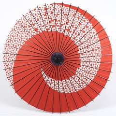 2011 Cherry Blossom Spiral Pattern Washi Parasol Red
