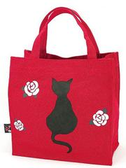 Black Cat Pattern Canvas Tote Bag (square type)