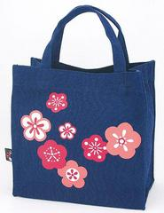 Plum Blossom (Ume) Pattern Canvas Tote Bag (square type)