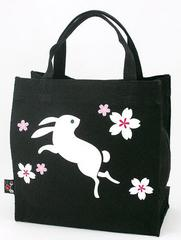 Rabbit Pattern Canvas Tote Bag (square type)
