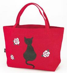 Black Cat Pattern Canvas Boat-shaped Tote Bag