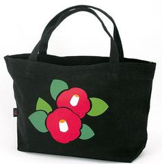 Camellia Pattern Boat-shaped Canvas Tote Bag