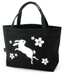 Rabbit Pattern Canvas Boat-shaped Tote Bag
