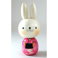 Usa-chan (Rabbit) Kokeshi pink
