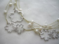 Cherry Blossom Accessory / Rhodium Plating Cherry Blossom Silver Necklace