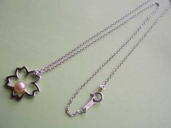 Cherry Blossom Accessory / Freshwater Pearl Silver Necklace