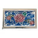 Stained Glass Like Card Case Silver 3 Roses